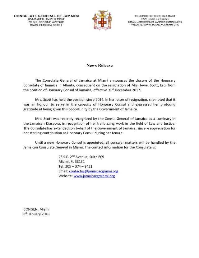 JCG announces temporary closure of Atlanta Honorary office