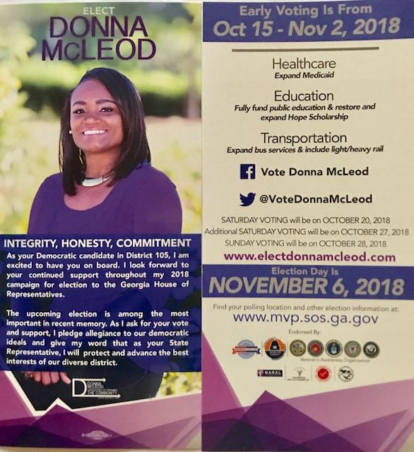 Donna McLeod's campaign flyer Nov 2018