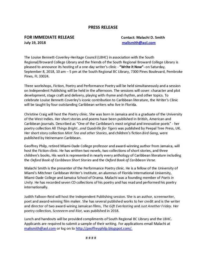Writer's Clinic Press Release | Jamlanta org