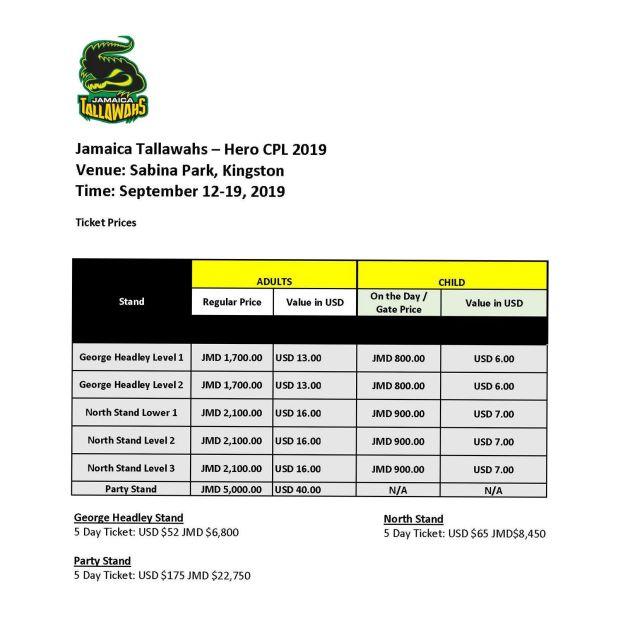 Jamaica Tallawahs Ticket Prices Match dates_1