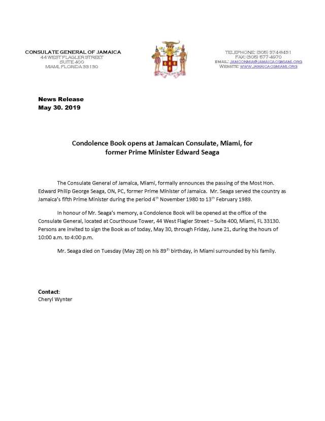 News Release - Condolence Book opens at Jamaica Consulate for former PM Seaga